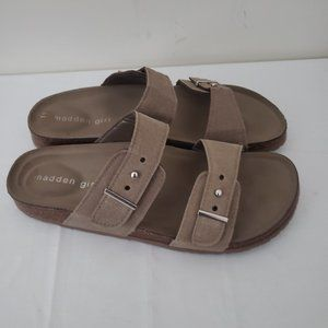 Madden Girl Bezzel Brown Leather Slide Sandal 8